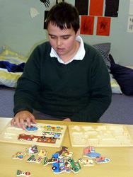 Student working on a puzzle
